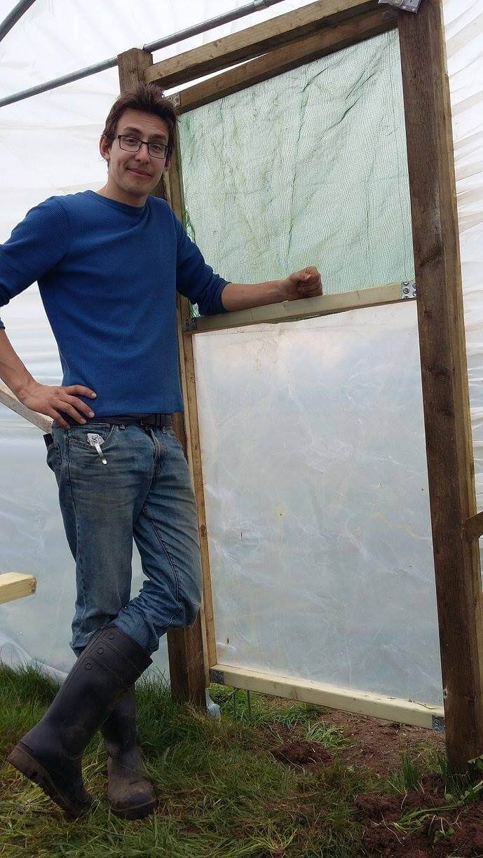 Bernard with the new polytunnel door
